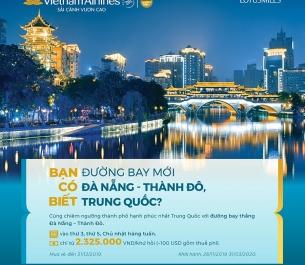 VNA khai trương đường bay mới Đà Nẵng - Thành Đô