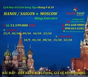 Lịch bay HANOI / SAIGON✈ MOSCOW tháng 9 & 10/2020