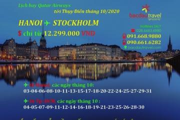Lịch bay HANOI / SAIGON✈ STOCKHOLM tháng 10/2020
