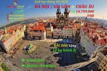 Lịch bay HANOI / SAIGON✈ PRAGURE tháng 10/2020