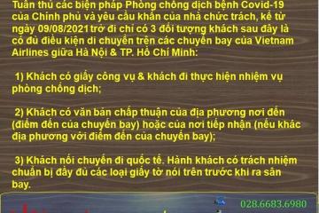 Lưu ý về chuyến bay Vietnam Airlines giữa Hà Nội & TpHCM